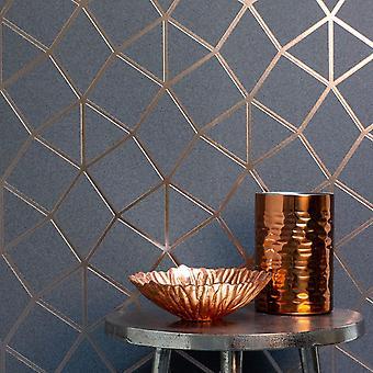 Platine Geo Trellis Texture Fonds d'écran Charbon gris / Cuivre Fine Décor FD42490