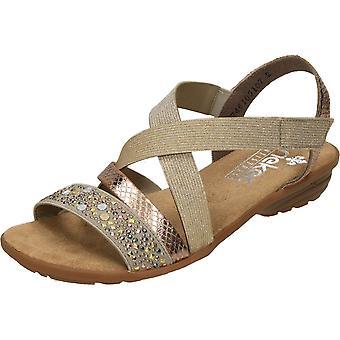 Rieker Slingback Open Toe Crossover Sandals V3463-60 Bege