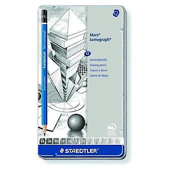 Staedtler Mars Lumograph pencil metal tin 12 pcs 100 G12