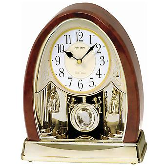 Rhythm 7636 table clock quartz with pendulum golden wood look with Melody light sensor