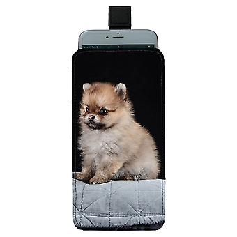 Pomeranian Puppy Pull-up Mobile Bag