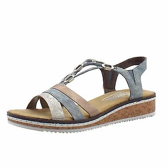 Rieker V36g4-40 Senita Comfortable Low Wedge Sandals In Blue Kombi