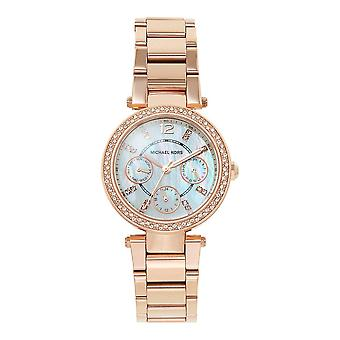 Michael Kors Watches Mk5616 Mini Parker Rose Gold & Mother Pearl Dial Chronograph Ladies Watch
