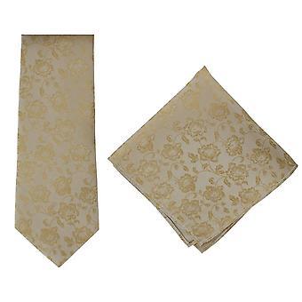 Michelsons af London subtil blomstermotiver silke slips og lomme firkantede sæt - Taupe