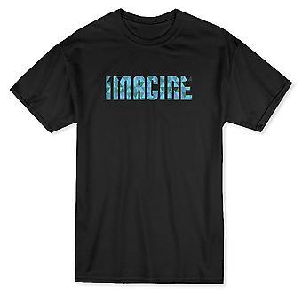 「想像」トレンディな光青引用メンズ t シャツ