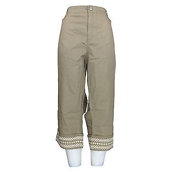 Denim & Co. Women's Plus Pants Twill Geborduurde Cuff Green A307667