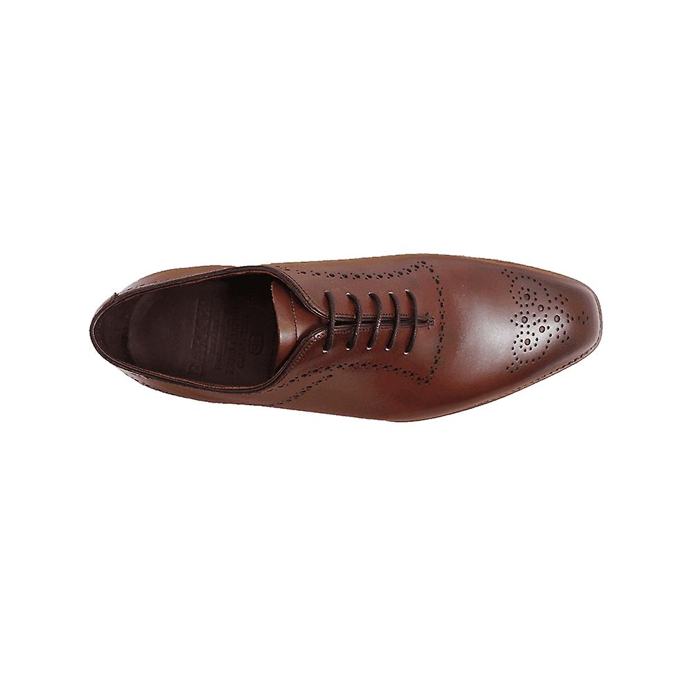 Barker Plymouth Chestnut Burnished Calf Leather Mens Oxford Lace Shoes