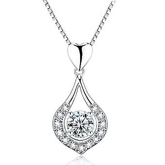Heart drop wrapped cz diamond necklace