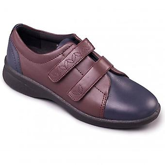 Padders Revive 2 Ladies Leather Extra Wide (3e/4e) Scarpe Navy/bordeaux