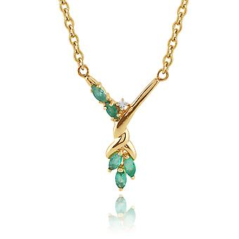 Floral Marquise Emerald & Diamond Necklace in 9ct Yellow Gold 6725