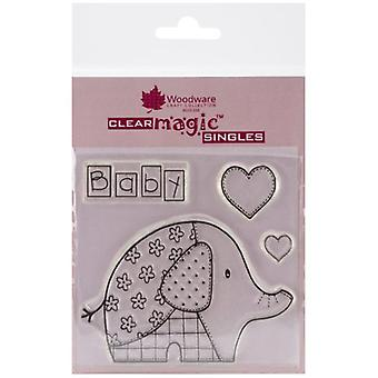 Woodware Clear Singles Baby Patch Olifant 4 in x 4 in Stempel