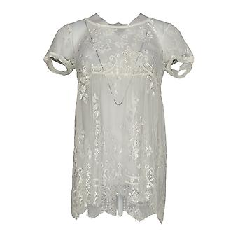 Masseys Women's Top Baby Doll Lace with Short Sleeve Ivory