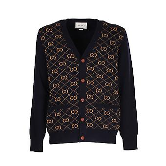 Gucci 630396xkbfb4795 Men's Blue Wool Cardigan