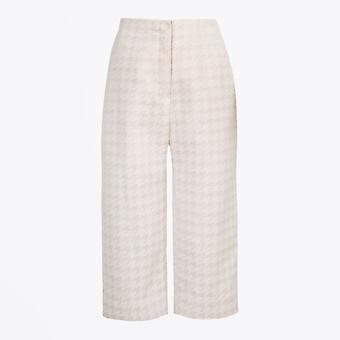 A-line  - Woven Dogtooth Culottes - Beige