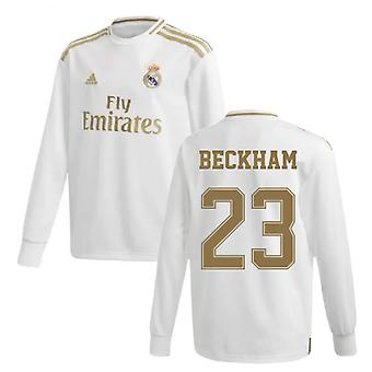 2019-2020 ريال مدريد أدادي الرئيسية قميص الأكمام الطويلة (الاطفال) (بيكهام 23)
