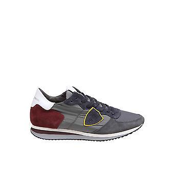 Philippe Modelo Tzluw053 Men's Grey Fabric Sneakers
