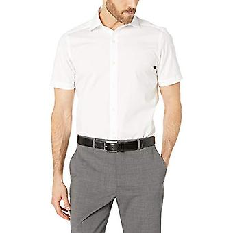 "BUTTONED DOWN Men's Tailored Fit Stretch Spread-Collar Short-Sleeve Non-Iron Shirt, White, 15"" Neck"