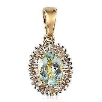 ILIANA AAA Paraiba Tourmaline Halo Pendant 18ct Yellow Gold White Diamond