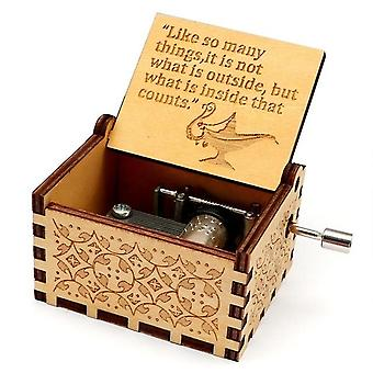 Aladdin - It's Not What's On The Outside But What's In The Inside That Counts Carved Hand Crank Wood Music Box