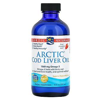 Nordic Naturals, Arctic Fiskleverolja, Jordgubbe, 8 fl oz (237 ml)