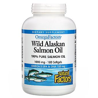 Natürliche Faktoren, Omega-Faktoren, Wild Alaskan Lachsöl, 1.000 mg, 180 Softgels