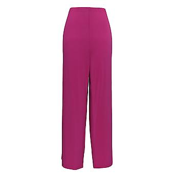 Bob Mackie Women's Pants Wide Leg Regular Length Knit Pants Pink A13015