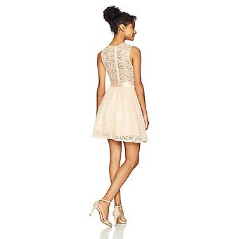 Bee Darlin Junior's Sleeveless Jewel Neck Party Dress with Ribbon Tie, Peach/...