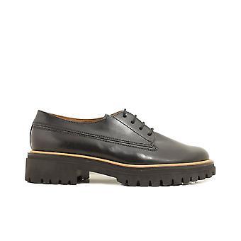 Paul Verde 2690-02 Negro Cuero Mujer Encaje Zapatos