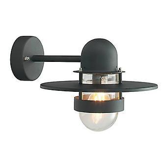 1 Lys udendørs fisker Dome Wall Lantern Light Sort IP55, E27