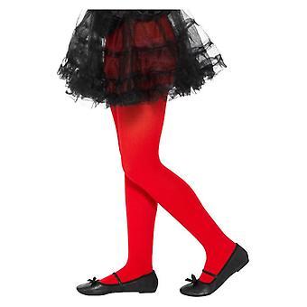 Mädchen Rot opak Strumpfhosen Alter 6-12 Jahre