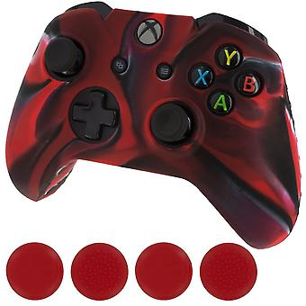 Zedlabz camo red silicone rubber skin grip cover & red thumb grip pack for xbox one controller