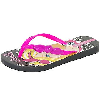 Ipanema Style Girls Beach Flip Flops / Sandals - Black and Fuchsia