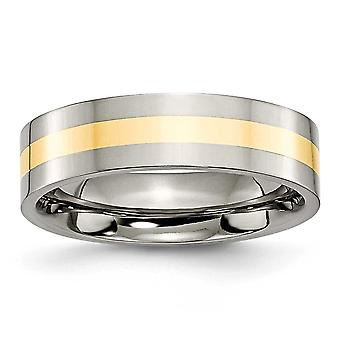 Titan-Flachband gravierbare 14 k Gold Inlay flach 6mm poliert Band Ring Schmuck Geschenke für Frauen - Ring Größe: 6 bis 13