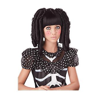 Kids Baby Doll Black Wig Halloween Fancy Dress Costume Accessory