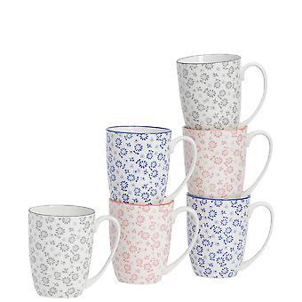 Nicola Spring 6 Piece Daisy Patterned Tea and Coffee Mug Set - Large Porcelain Latte Mugs - 3 Colours - 360ml