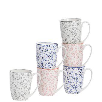 Nicola Spring 6 Stuk Daisy Patroon Thee en Koffiemok Set - Grote porseleinen latte mokken - 3 kleuren - 360ml