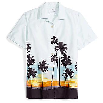 28 Palms Men's Standard-Fit 100% Cotton Tropical Hawaiian Shirt, Sunset Sceni...