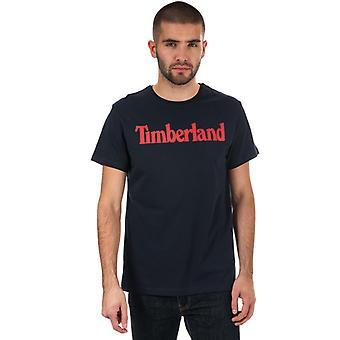 Mannen's Timberland Season Linear Logo Crew T-Shirt in Blauw