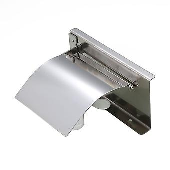 Toilet Paper Holder Stainless Steel 18x9.5x14cm with Shelf Silver