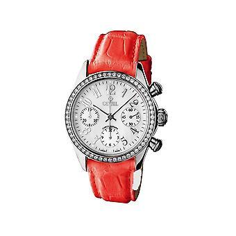 Gevril Kvinnor's 2919 Lafayette Automatisk Chrono Datum 56 Diamonds Läder Klocka