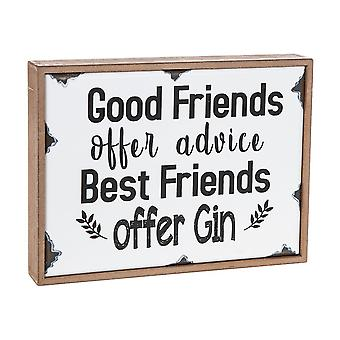 Wooden Hanging Plaque - Best Friends Offer Gin