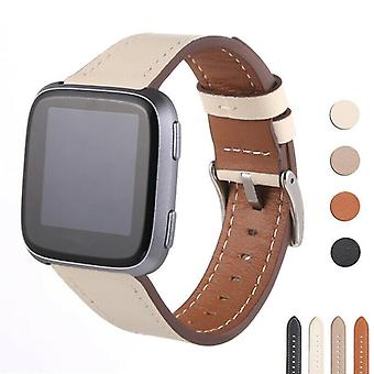 For Fitbit Versa 2/Versa/Versa Lite Band Leather Replacement Wristband Strap[Hvit]