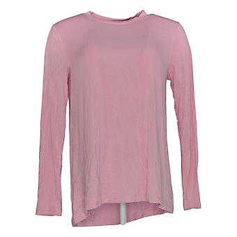 H Par Halston Women's Top Long Sleeve Crew Neck W/ Curved Hem Pink A294968