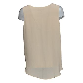 Lisa Rinna Collection Women's Top V-Neck Sleeveless Blouse Beige A365773