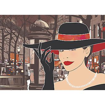 Wallpaper Mural A Parisian Woman Retro (400x260 cm)