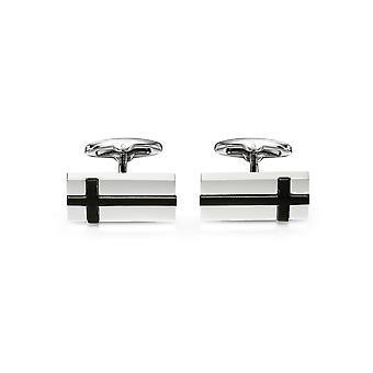 Fred Bennett Stainless Steel for Men's Black Cross Rectangle Cufflinks