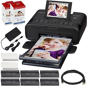 Canon selphy cp1300 compact photo printer (black) with wifi and accessory bundle w/ 2x canon color ink and paper set ps76563