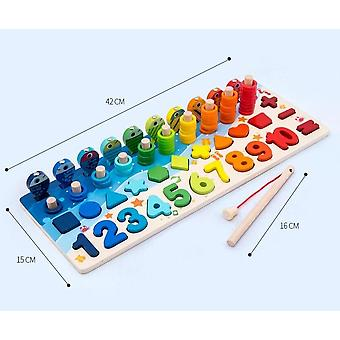 Kids Wooden Montessori Digit Magnetic Fishing Toy Games - Educational Puzzle