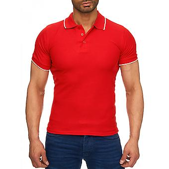Herren Contrast kurzarm Uni Poloshirt Kragen T-Shirt Polo Shirt basic Slimfit