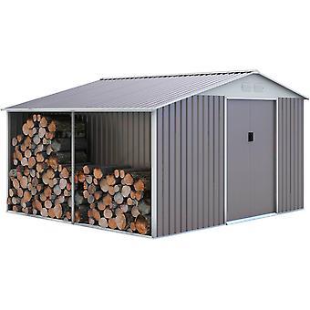 Caseta de metal Dallas8,84 m² con leñero